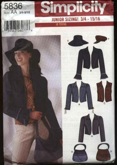 Simplicity Sewing Pattern 5836 Junior Size 11/12-15/16 Jackets  Vest Hats Purse Totebag