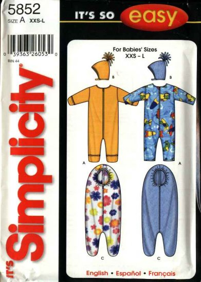 Simplicity Sewing Pattern 5852 Baby Infant Size up to 24#  Romper Hat Bunting for Baby to 6 months