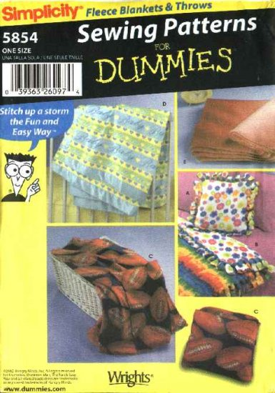 Simplicity Sewing Pattern 5854 Easy  Fleece Blankets Throws Pillows