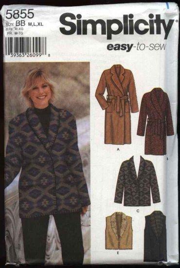 Simplicity Sewing Pattern 5855 Misses Size 4-12 Easy Long Short Coat Jacket Vest