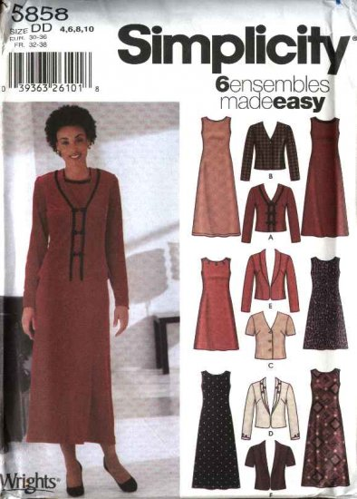 Simplicity Sewing Pattern 5858 Misses Size 4-10 Easy Jackets Pullover Sleeveless Knit A-Line Dress