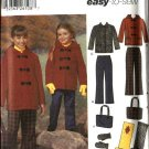 Simplicity Sewing Pattern 5863 4837 Girls Size 7-14 Easy Pants Hooded Jacket Scarf Mittens Bag Purse