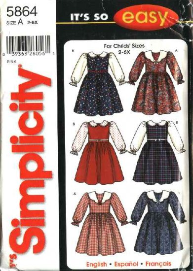 Simplicity Sewing Pattern 5864 Girls Size 2-6x Easy Long Sleeve Full Skirt Dresses