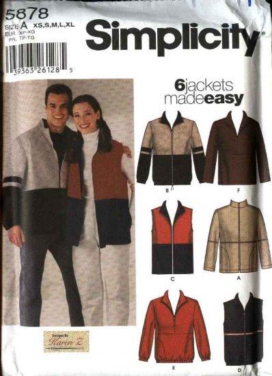 """Simplicity Sewing Pattern 5878 Misses Mens Unisex Chest Size 30-48"""" Zipper Front Jacket Vest Top"""