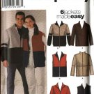 "Simplicity Sewing Pattern 5878 Misses Mens Unisex Chest Size 30-48"" Zipper Front Jacket Vest Top"