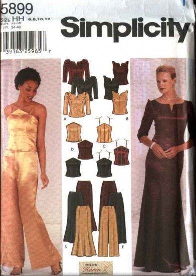 Simplicity Sewing Pattern 5899 Misses Size 6-12 Formal Prom Evening Button Back Top Long Skirt Pants