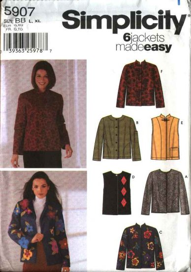 Simplicity Sewing Pattern 5907 Misses Size 6-16 Easy Long Sleeve Button Front Jacket Vest