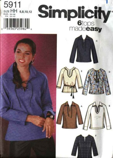 Simplicity Sewing Pattern 5911 Misses Size 14-20 Easy Long Sleeve Pullover Tops