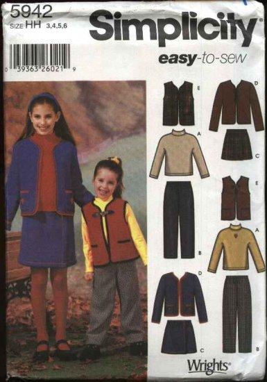 Simplicity Sewing Pattern 5942 Girls Size 3-6 Easy Wardrobe Knit Top Vest Skirt Pants Jacket