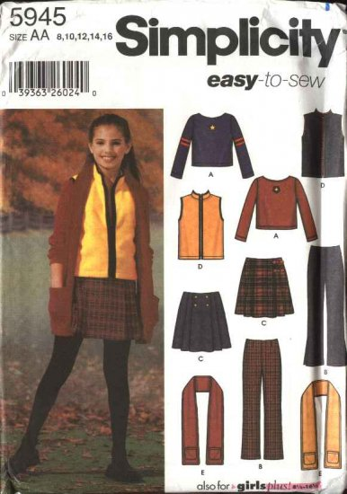 Simplicity Sewing Pattern 5945 Girls Size 8-16 Easy Wardrobe Pants Pleated Skirt Vest Pullover Top
