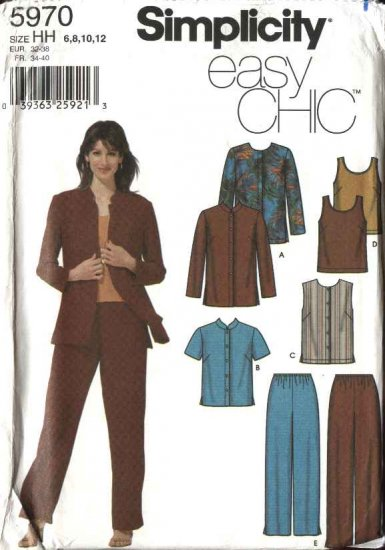 Simplicity Sewing Pattern 5970 Misses Size 6-12 Easy Wardrobe Jacket Vest Top Pull On Pants