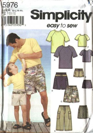 Simplicity Sewing Pattern 5976 Mens Boys S-L/S-XL Bermuda Shorts Knit T-Shirt