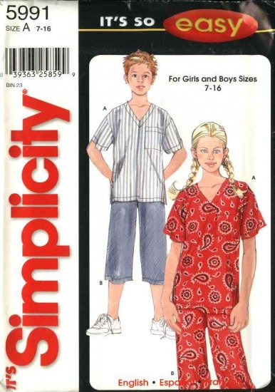 Simplicity Sewing Pattern 5991 Boys Girls Size 7-16 Easy Top  Cropped Pants