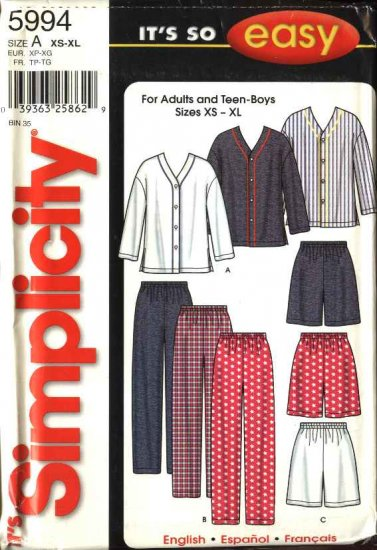"""Simplicity Sewing Pattern 5994 Misses Mens Chest Size 30-48"""" Easy Button Front Shirt Pants Shorts"""