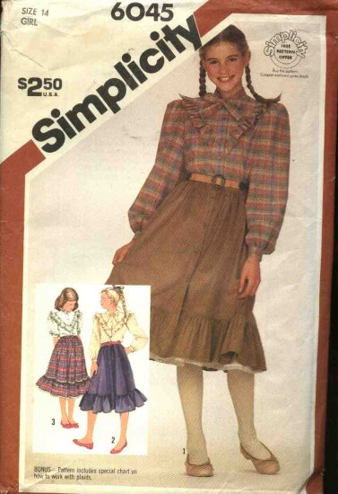 Retro Simplicity Sewing Pattern 6045 Girls Size 14 Full Button Front Skirt Western Style Blouse