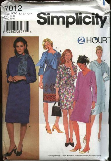 Simplicity Sewing Pattern 7012 Misses Size 8-14 2-Hour Straight Long Sleeve Pullover Dress Scarf
