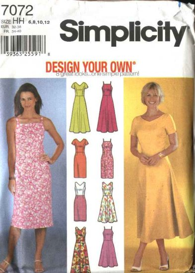 Simplicity Sewing Pattern 7072 Misses Size 6-12 Summer Straight Flared Dresses Sundress