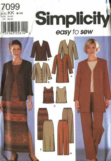 Simplicity Sewing Pattern 7099 Misses Size 8-14 Easy Wardrobe Jacket Top Pull On Pants Skirt