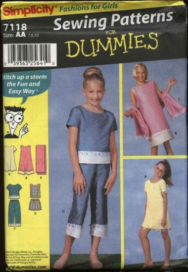 Simplicity Sewing Pattern 7118 Girls Size 7-10 Easy Pullover Dress Top Shorts Cropped Pants Shawl