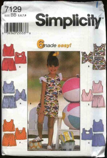 Simplicity Sewing Pattern 7129 Girls Size 3-6 Easy Pull On Shorts Pullover Tops Suntops Summer