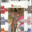 Simplicity Sewing Pattern 7129 Girls Size 5-8 Easy Pull On Shorts Pullover Tops Suntops Summer