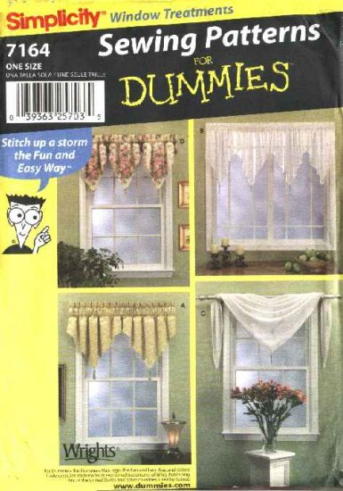 Simplicity Sewing Pattern 7164 Window Valances Curtains Treatments Home Decoration