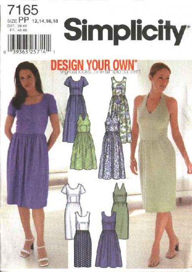Simplicity Sewing Pattern 7165 Misses Size 12-18 Design Your Own Full Straight Skirt Dress