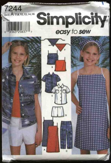 Simplicity Sewing Pattern 7244 Girls Size 7-16 Easy Dress Jumper Top Pants Shorts Shirts Scarf