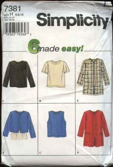 Simplicity Sewing Pattern 7381 Misses Size 6-8-10 Easy Pullover Tops Jackets Cardigan Twin Sets