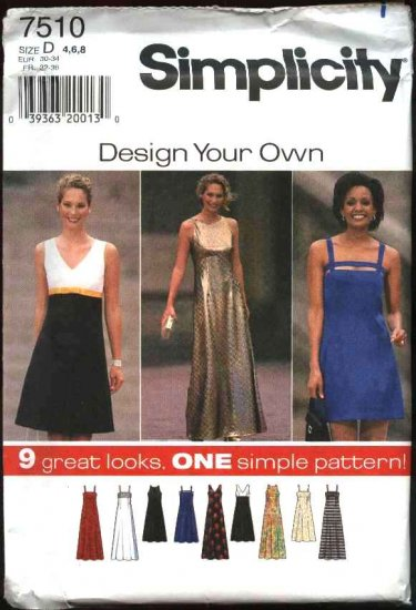 Simplicity Sewing Pattern 7510 Misses Size 4-8 Raised Waist Long Short Dress