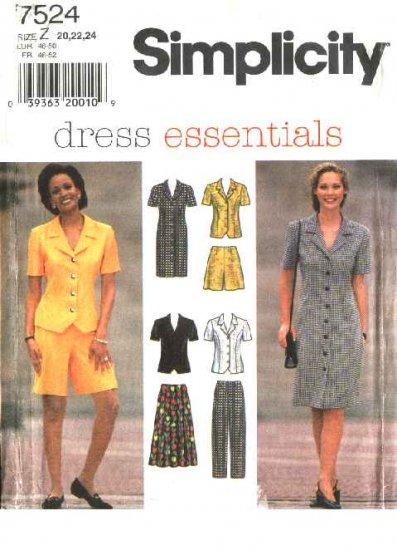 Simplicity Sewing Pattern 7524 Misses Size 8-12 Wardrobe Dress Top Pants Skirt Walking Shorts