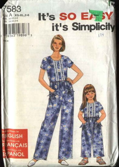 Simplicity Sewing Pattern 7583 Misses Size 6-24  Girls Size 2-6 Matching jumpsuits