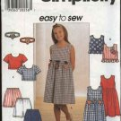 Simplicity Sewing Pattern 7610 Girls Size 7-8-10 Easy Pullover Dress Top Shorts Headband