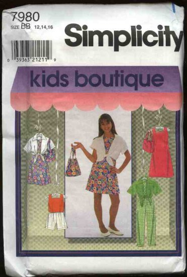 Simplicity Sewing Pattern 7980 Girls Size 12-16 Wardrobe Dress Top Shirt Pants Shorts Purse