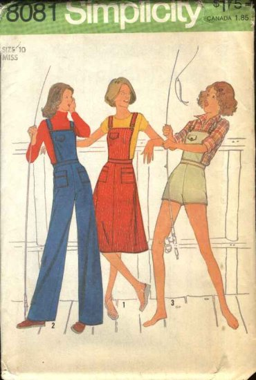 Retro Simplicity Sewing Pattern 8081 Misses Size 10 Long Short Overalls Jumper