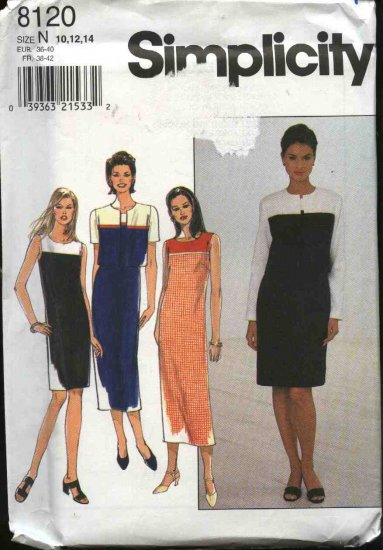 Simplicity Sewing Pattern 8120 Misses Size 10-12-14 Straight Sheath Color Blocked Dress Jacket