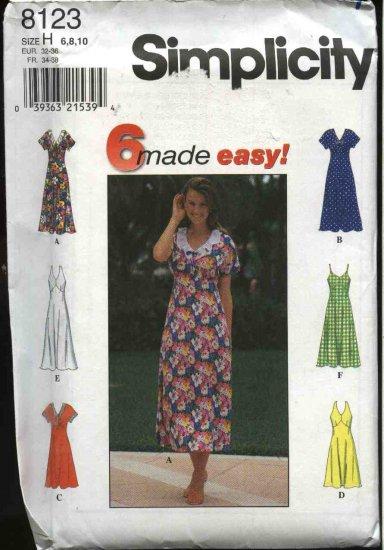 Simplicity Sewing Pattern 8123 Misses Size 6-8-10 Easy Raised Waist Halter Sleeveless Summer Dress