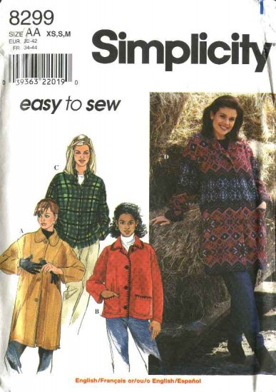 Simplicity Sewing Pattern 8299 Misses Size 6-16 Easy Button Front Long sleeve Fleece Jacket