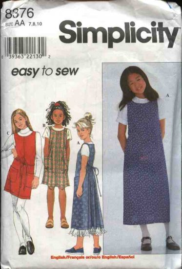 Simplicity Sewing Pattern 8376 Girl's Size 7-8-10 Easy Wrap Apron Dress Jumper