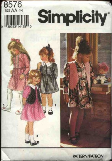 Simplicity Sewing Pattern 8576 Girls Size 2-4 Full Skirted Dress Vest