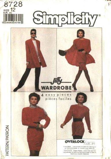 Simplicity Sewing Pattern 8728 Misses Size 12 Jiffy Knit Wardrobe Pants Top Skirt Swing Jacket