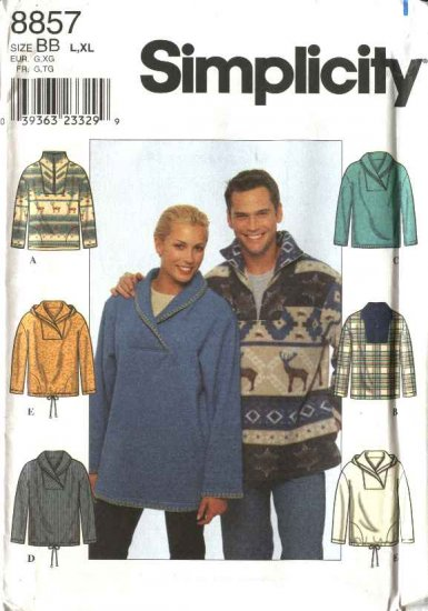 "Simplicity Sewing Pattern 8857 Misses Mens Unisex Chest Size 30-40"" Pullover Knit Fleece Hooded Top"