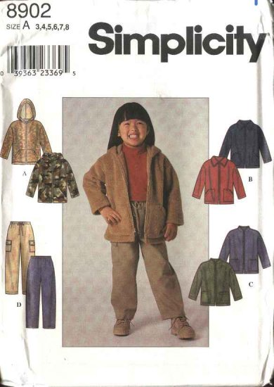 Simplicity Sewing Pattern 8902 Boys Girls Childs Size 3-8 Long Pants Zipper Front Jacket Hoodie
