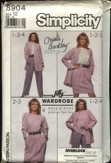 Simplicity Sewing Pattern 8904 Misses Size 12 Christie Brinkley Wardrobe Jacket Pants Skirt Top