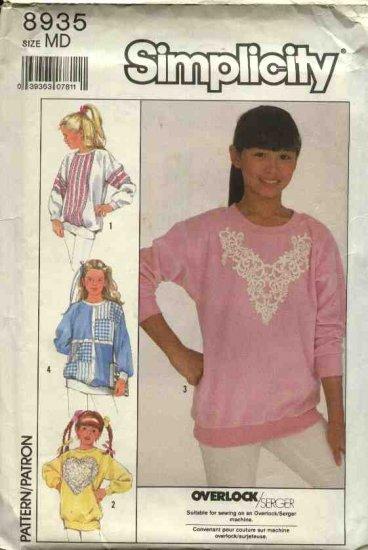 Simplicity Sewing Pattern 8935 Girls size 7 Decorated Knit Sweatshirts