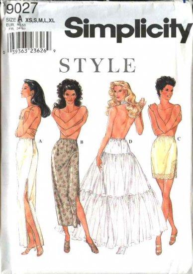 Simplicity Style Sewing Pattern 9027 Misses Size 6-24 Slip Petticoat Straight Half-Slip Long Full