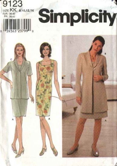 Simplicity Sewing Pattern 9123 Misses Size 8-14 Sleeveless Straight Dress Jacket