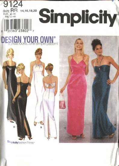 Simplicity Sewing Pattern 9124 Misses Size 6-12 Formal Prom Evening Gowns Halter Long Dresses