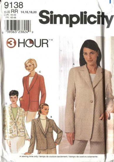 Simplicity Sewing Pattern 9138 Misses Size 14-20   Long Sleeve Shawl Notched Collar Jacket