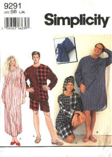 """Simplicity Sewing Pattern 9291 Misses Mens Chest Size 42-48"""" Sleepwear Nightgown Nightshirt Shorts"""